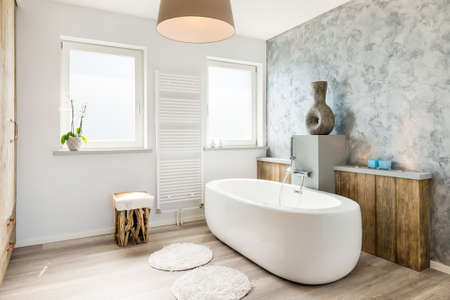 contemporary interior: Modern bright bathroom with seperate bath
