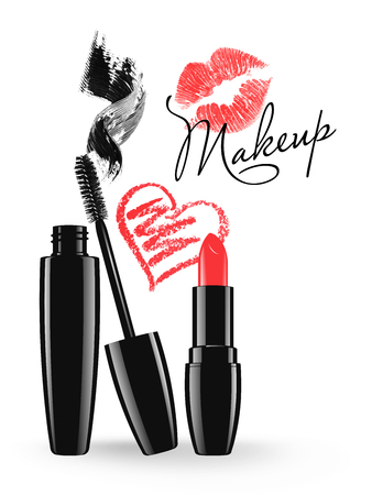Cosmetic product design vector illustration. Makeup mascara tube, brush and stain, red lipstick and doodle heart isolated over white background Stock Illustratie