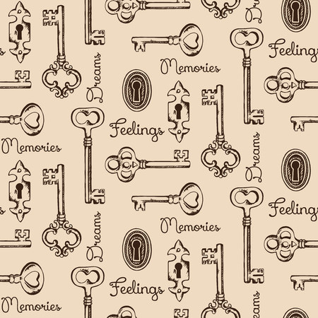 old diary: Seamless pattern of the old keys and keyholes. Diary cover design vector illustration