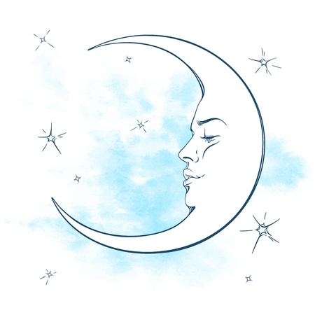 Blue crescent moon and stars vector illustration. Hand drawn tattoo design, astrology, alchemy, magic symbol isolated over abstract watercolor background