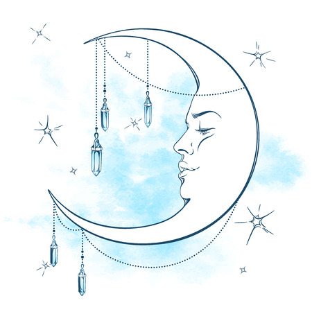 Blue crescent moon with moonstone pendants and stars vector illustration. Hand drawn tattoo design, astrology, alchemy, magic symbol isolated over abstract watercolor background Illustration
