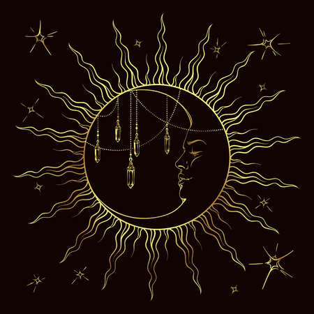 wiccan: Golden crescent moon with pendants and stars vector illustration. Hand drawn tattoo design, astrology, alchemy, magic symbol isolated