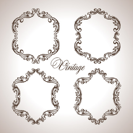 decorative element: Vector calligraphic engraving frames set in antique style illustration