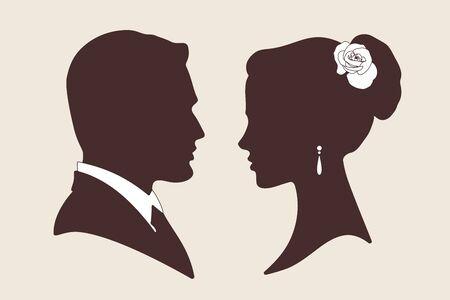 silueta masculina: ilustración del vector siluetas de novio y la novia