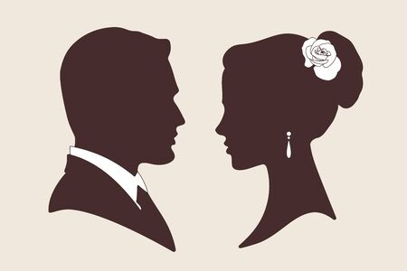 male silhouette: Vector illustration silhouettes of groom and bride
