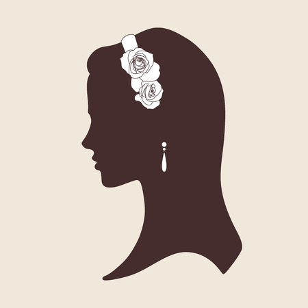 cameo: Wedding design silhouette of bride wearing tiara made of roses vector illustration
