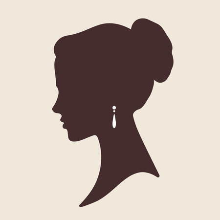 cameo: Vector elegant lady face silhouette isolated illustration