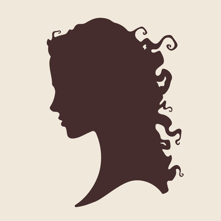 hair product: Vector illustration silhouette of beautiful curly girl in profile isolated. Beauty salon or hair product logo design