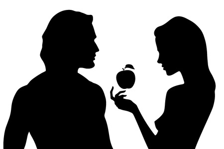 Vector silhouette of beautiful man and woman in profile. Adam and Eve and the forbidden fruit Çizim