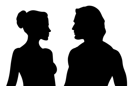 Vector beautiful male and female silhouettes isolated