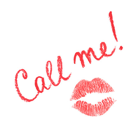 cat call: Vector note written in lipstick and lips print isolated Illustration
