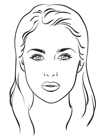 Retrato hermoso de la mujer. gráfico de la cara del artista de maquillaje Plantilla en blanco. ilustración vectorial