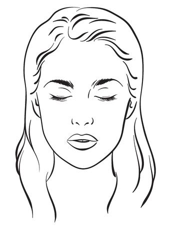 Beautiful woman portrait. Face chart Makeup Artist Blank Template. Vector illustration Vectores