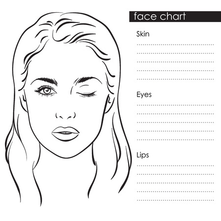 Beautiful woman portrait. Face chart Makeup Artist Blank Template. Vector illustration Illusztráció