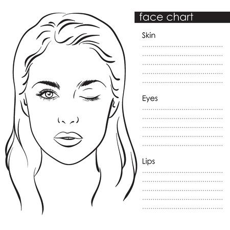 makeup artist: Beautiful woman portrait. Face chart Makeup Artist Blank Template. Vector illustration Illustration