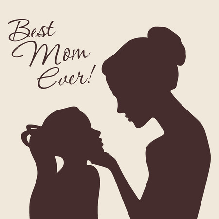 profile silhouette: Mother and daughter silhouettes. Best Mom Ever vintage card. Vector Illustration