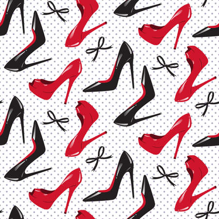 high heeled: PrintSeamless pattern design for package of shoes. Red and black shiny glossy high heeled shoes over dotted background vector illustration.