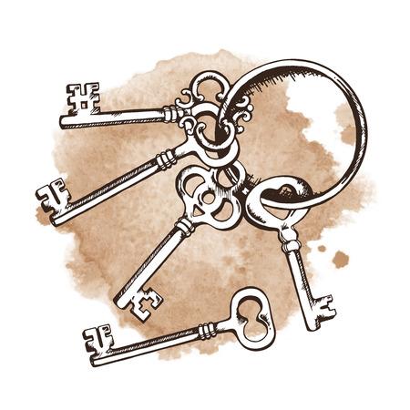 door lock love: Vintage keys on ring over watercolor background. Isolated Vector illustration Illustration