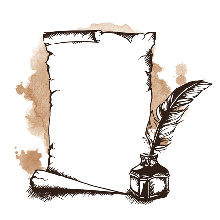 inkwell: Hand-drawn paper scroll, feather and inkwell. Vector illustration