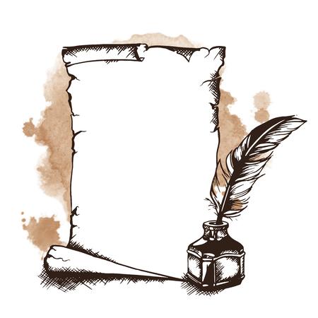 rotolo di carta disegnata a mano, penna e calamaio. illustrazione di vettore