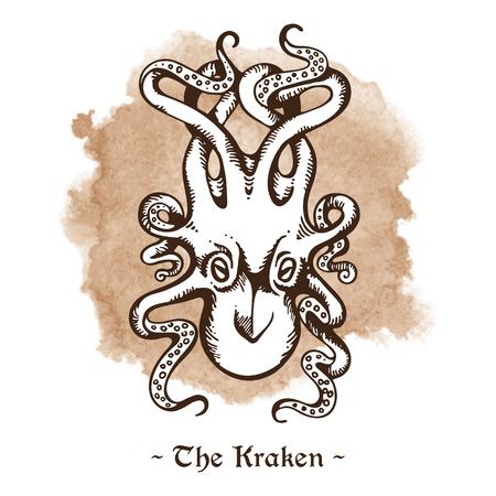 sea monster: The Kraken. Legendary sea monster giant octopus hand drawn vector illustration Illustration