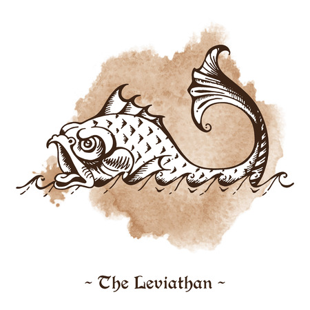 The Leviathan. Legendary sea monster giant whale hand drawn vector illustration Illustration