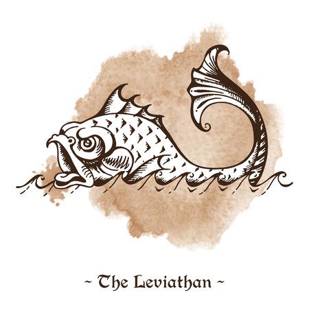 sea monster: The Leviathan. Legendary sea monster giant whale hand drawn vector illustration Illustration