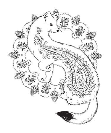 stoat: Coloring book pages for kids and adults. Ermine with paisley ornaments isolated vector illustration Illustration