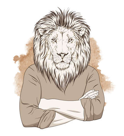 anthropomorphic: Anthropomorphic lion standing with hands crossed on his chest over watercolor background. Sepia tonned illustration. Vector