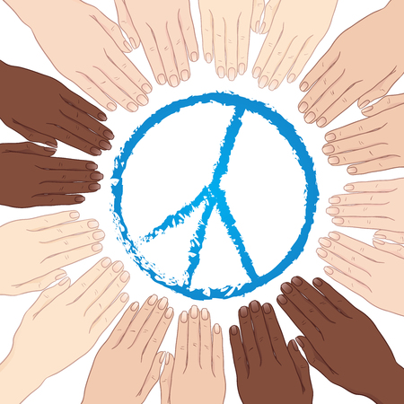 Vector illustration human hands with different skin tones in circle around sign of peace. World peace