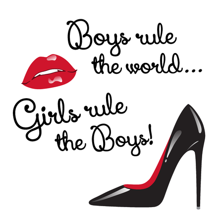 Design for teenage girls. Boys rule the world. Girls rule the boys. Red and black elements isolated - red glossy lips and high heeled shoes vector illustration.