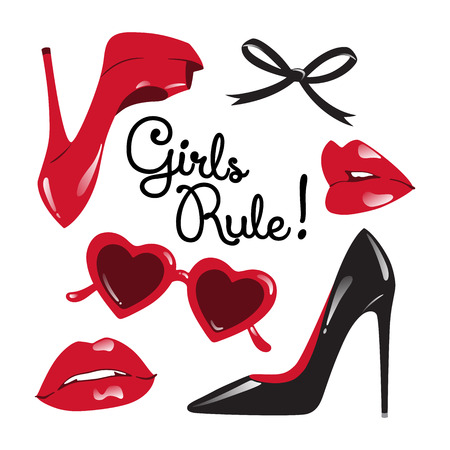high heeled: Set of isolated red and black elements. Fashion collage or card - high heeled shoes, heart shaped glasses, glossy lips, ribbon bow vector illustration. Girls rule