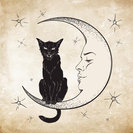 familiar: Black cat sitting on the moon. Wiccan familiar spirit vector illustration