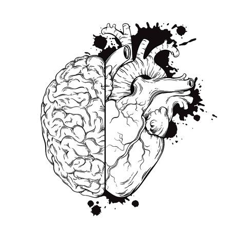 Main art ligne tracée humains cerveau et du coeur halfs. conception de tatouage grunge esquisse isolé sur fond blanc illustration vectorielle. Logic et le concept de priorité d'émotion.