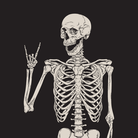 human hand: Human skeleton posing isolated over black background vector illustration