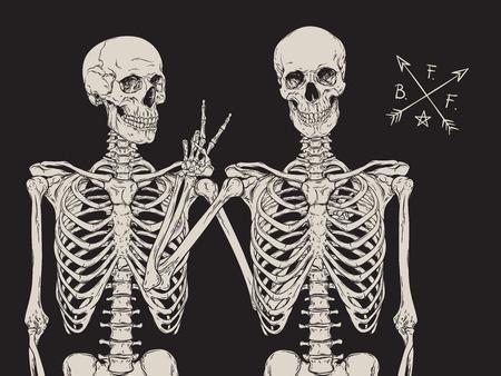 Human skeletons best friends posing isolated over black background vector illustration Illustration