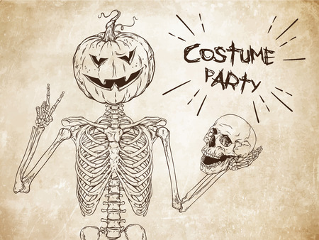 costume party: Human skeleton with halloween pumpkin instead of head posing over old grunge paper background vector. Halloween costume party flyer design illustration