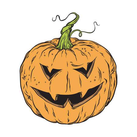 jack'o'lantern: Vector halloween pumpkin hand drawn cartoon Jack-o-lantern isolated on white background illustration Illustration