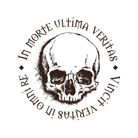 conquers: Vector skull with a latin inscription meaning In death, lies the final truth. Truth conquers in all matters.