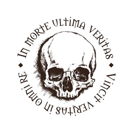 """Vector cráneo con una inscripción en latín que significa """"En la muerte, se encuentra la verdad final. Verdad vence en todos los asuntos."""""""