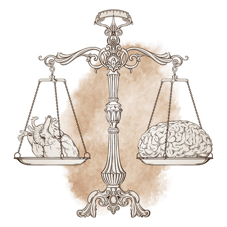 Vector illustration antique ornate balance scales with a heart and a brain on cups isolated. Logic and emotion priority concept. Even odds, being in balance. Illustration