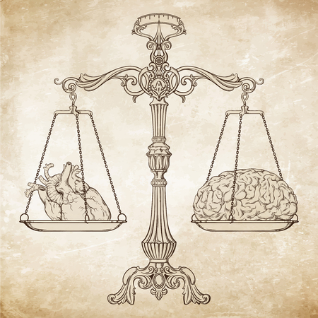 Vector illustration antique ornate balance scales with a heart and a brain on cups isolated. Logic and emotion priority concept. Even odds, being in balance. Stock Illustratie