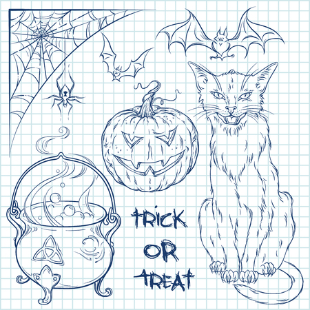 wiccan: Hand drawn halloween doodles collection set over squared paper background. Cat, cauldron, spider, pumpkin and bats illustration vector