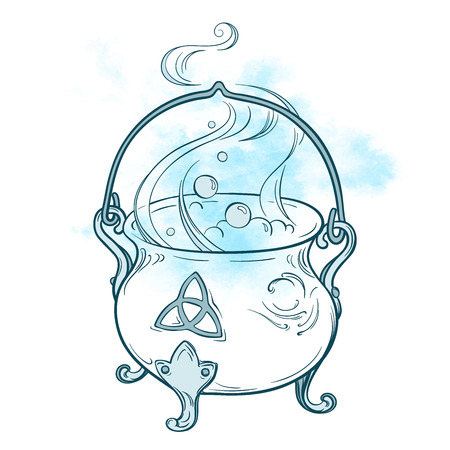 Blue boiling magic cauldron. Hand drawn wiccan design, astrology, alchemy, magic symbol isolated over abstract watercolor background vector illustration Vectores