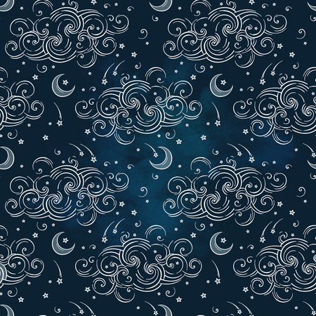 Vector seamless pattern with celestial bodies - moons, stars and clouds. Boho hand drawn chic print textile design
