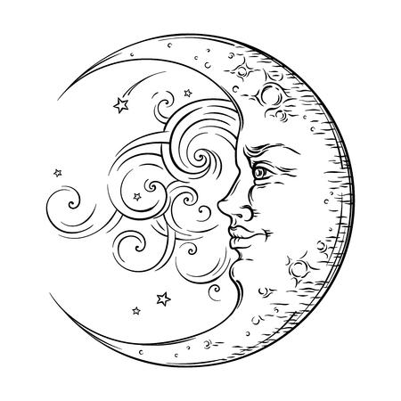 main de style antique tracé art croissant de lune. Boho tatouage chic, design vector illustration