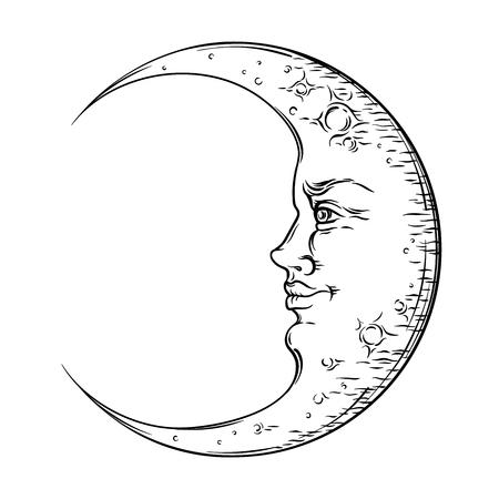 Antique style hand drawn art crescent moon. Boho chic tattoo design vector illustration Vectores