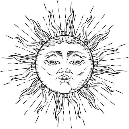 Antique style hand drawn art sun. Boho chic tattoo design vector illustration