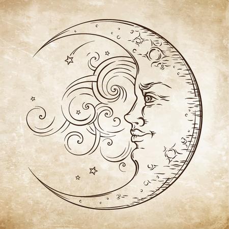 Antique style hand drawn art crescent moon. Boho chic tattoo design vector illustration Stock Illustratie