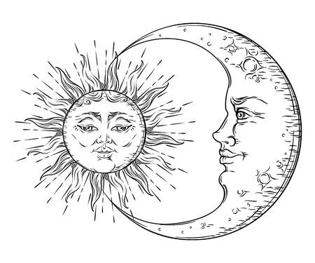 Antieke stijl handgetekende kunst zon en halve maan. Boho chique tattoo ontwerp vector illustratie